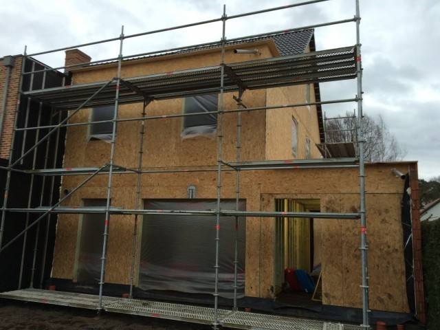 15/01/2015 montage houtskeletbouw achtergevel